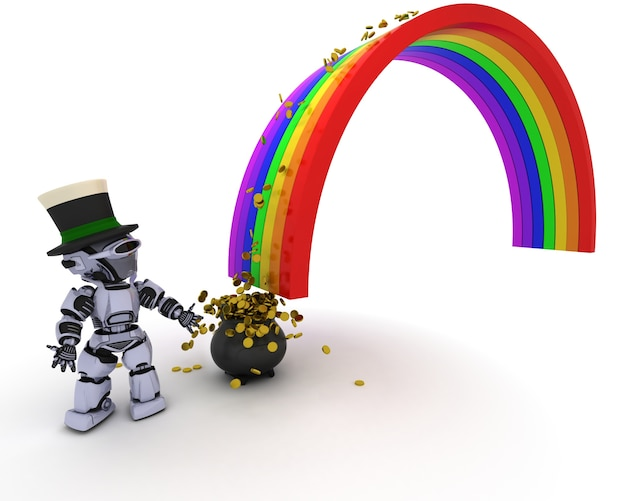 Robot de prendre l'argent de l'arc en ciel Photo gratuit