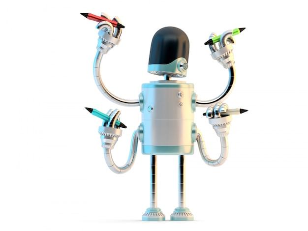 Robot à quatre bras avec crayons Photo Premium