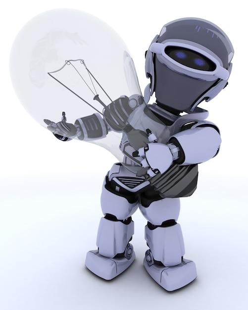 Robot Tenant Une Ampoule Photo gratuit