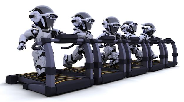 Robots Exerçant Sur Tapis Roulant Photo gratuit