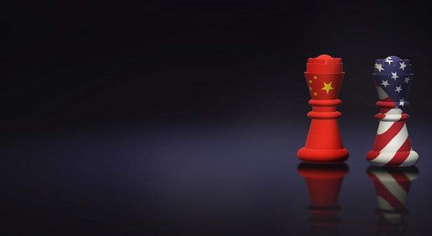 Roi d'échecs chine vs roi d'échecs amérique Photo Premium