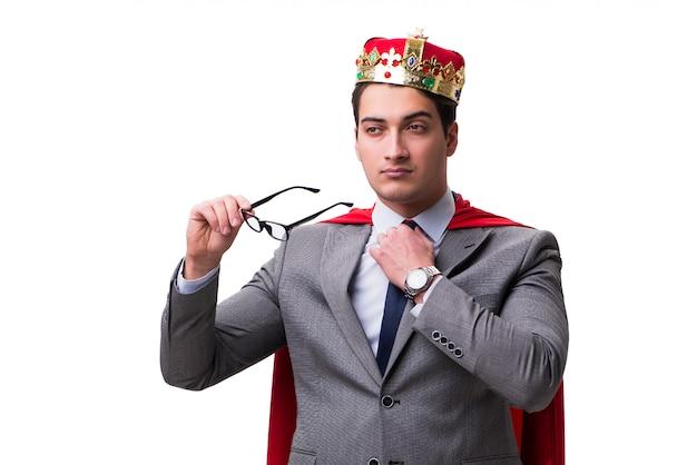 Roi, homme affaires, porter, couverture rouge Photo Premium