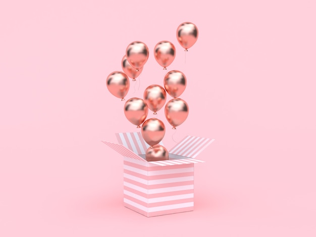 Rose boîte blanche ouverte rose or ballon métallique flottant minimale rose Photo Premium