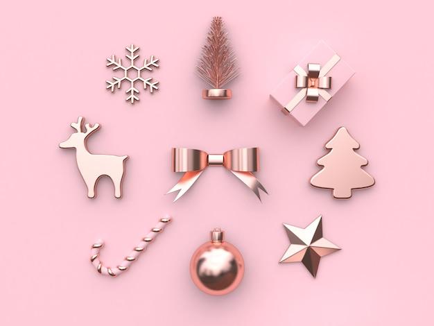 Rose métallique or abstrait arc ruban balle étoile arbre cadeau boîte neige renne bonbons rendu 3d Photo Premium