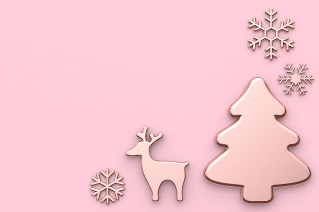Rose noël vacances nouvel an concept abstrait neige renne sapin de noël rose Photo Premium