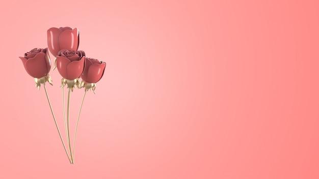 Rose Rose Métallique Abstraite Pour Le Concept De La Saint-valentin, Fond Rose De Rendu 3d. Photo Premium