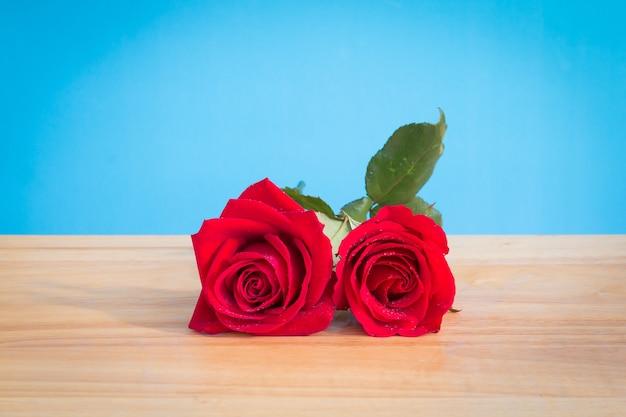 Rose rouge fraîche sur le bureau en bois avec fond bleu