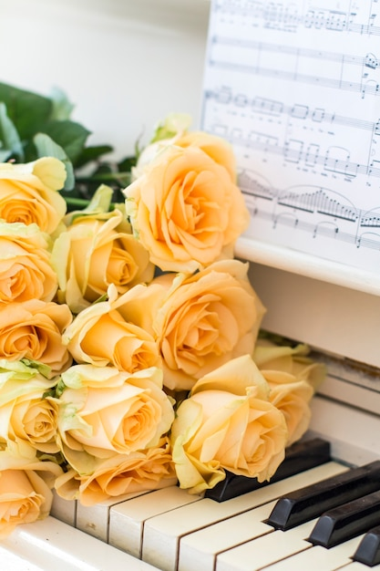 Roses de pêche sur le piano avec des notes Photo Premium