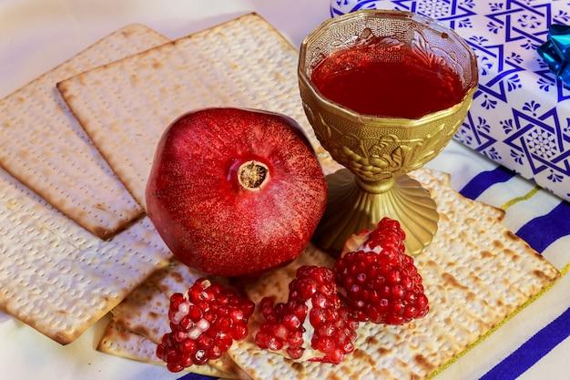 Rosh hashanah vacances juives matzoh pain de pâque grenade Photo Premium