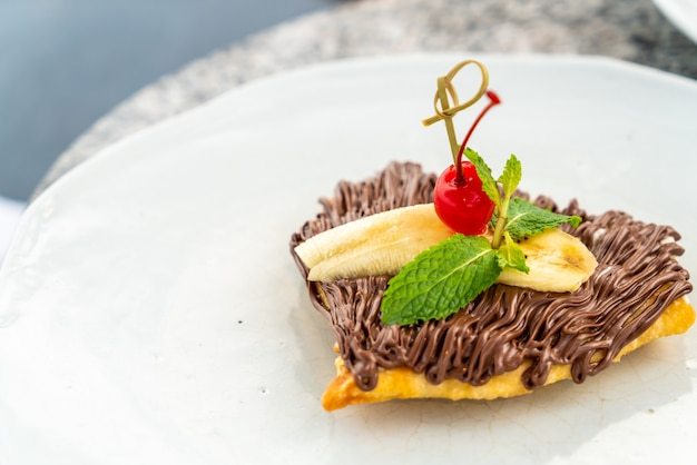 Roti Au Chocolat Et Banane Photo Premium