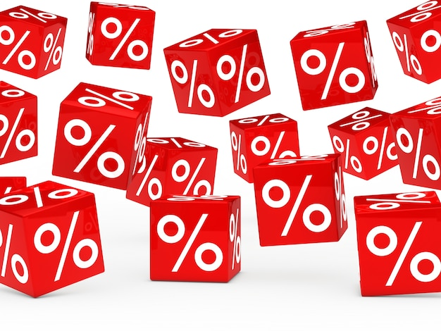 Dés rouges avec des pourcentages Photo gratuit