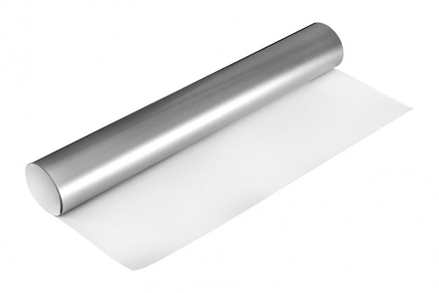 Rouleau d'argent autocollant isolé sur fond blanc Photo Premium
