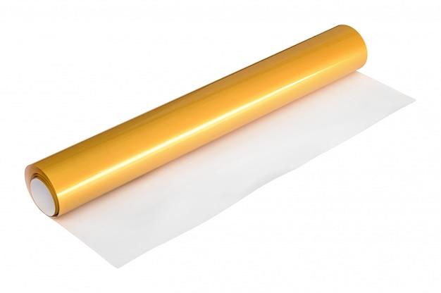 Rouleau d'autocollant doré isolé sur fond blanc. papier de boîte cadeau. Photo Premium