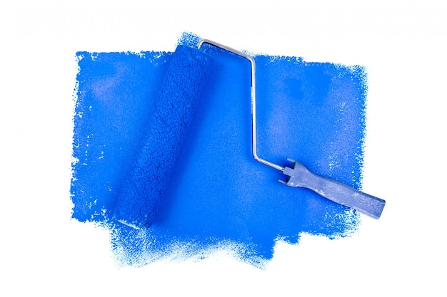 Rouleau A Peinture Sur Les Traces Bleues Photo Premium