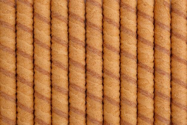 Le rouleau de wafer colle à l'arrière-plan, vue d'en haut. Photo Premium