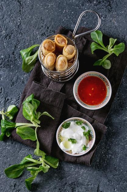 Rouleaux de printemps frits avec sauce Photo Premium