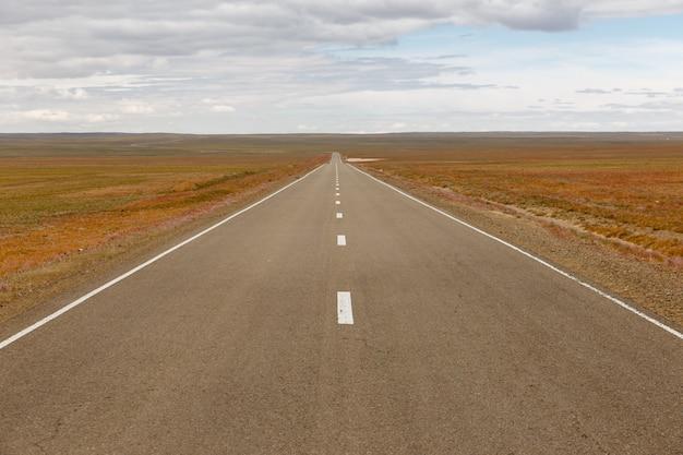 Route asphaltée sainshand zamiin-uud en mongolie Photo Premium