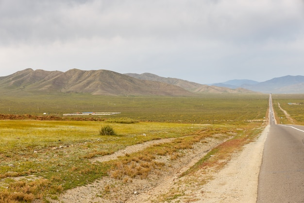 Route asphaltée sukhe bator - darkhan en mongolie Photo Premium