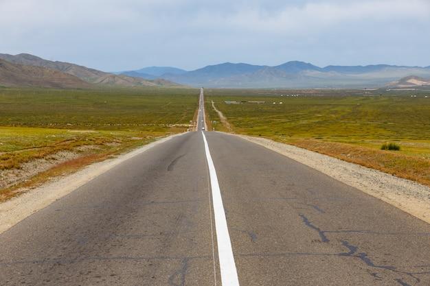 Route goudronnée dans la steppe, mongolie Photo Premium