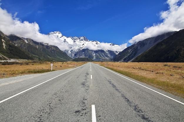 Route, sur, île sud, nouvelle zélande Photo Premium