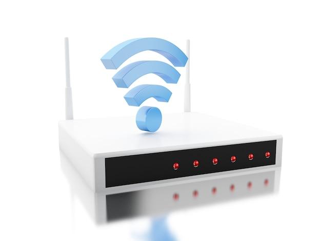 Routeur 3d avec signe wi-fi Photo Premium