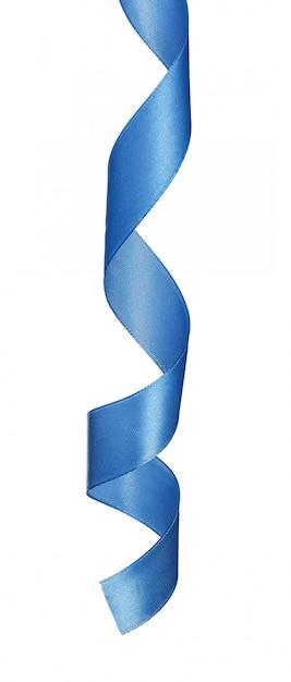 Ruban de satin bleu foncé isolé sur fond blanc Photo Premium