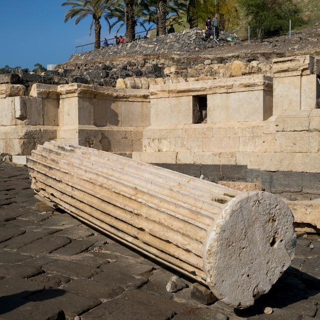 Ruines D'un Bâtiment Sur Un Site Archéologique, Parc National Bet She'an, District De Haïfa, Israël Photo Premium