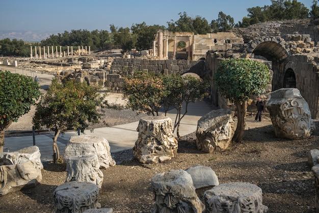 Ruines Sur Le Site Archéologique, Parc National Bet She'an, District De Haïfa, Israël Photo Premium