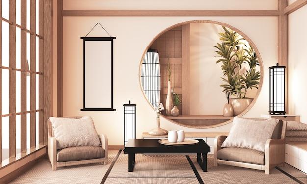 Ryokan chambre très zen avec étagère murale en bois et sol en tatami, rendu de la pièce ton de terre.3d Photo Premium