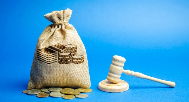 Sac d'argent et marteau du juge. Photo Premium