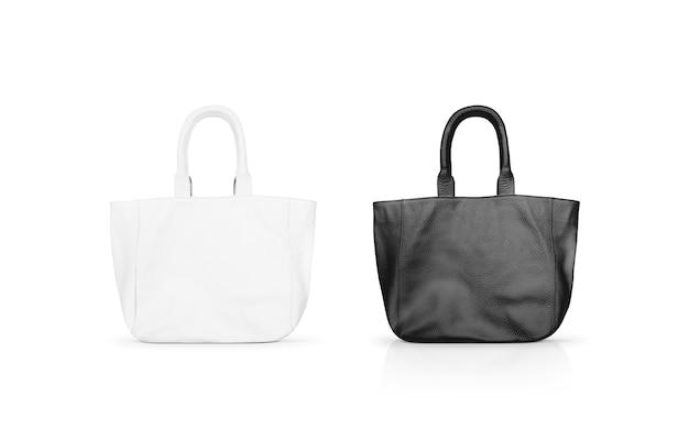 Sac en cuir des femmes vierges noir et blanc mock up isolé. Photo Premium