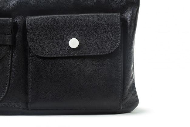 Sac à main femme en cuir noir isolé on white Photo Premium