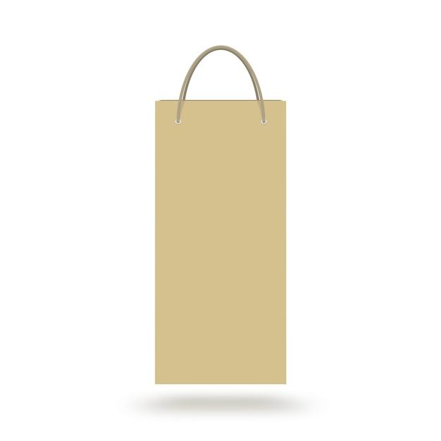 Sac en papier de vin blanc avec poignée isolée Photo Premium