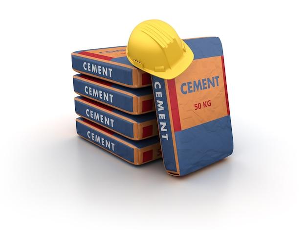 Sacs De Ciment Avec Casque Photo Premium