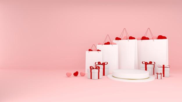 Sacs à Provisions Avec Des Coeurs Roses Et Rouges à L'intérieur Avec Des Cadeaux Et Un Podium Blanc Avec Des Rayures Dorées Sur Fond Rose. Rendu Tridimensionnel De La Saint-valentin. Fond 3d Avec Espace De Copie. Bannière De Vente. Photo Premium