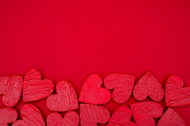 Saint Valentin Carte Postale Coeurs Rouges. Photo Premium