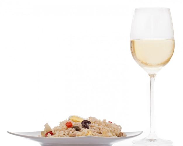 Salade de riz et vin Photo Premium