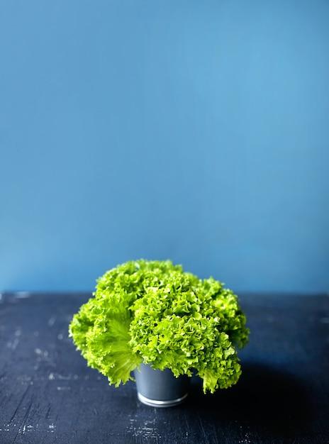 Salade verte fraîche dans un petit seau sur la table rustique blanche Photo Premium