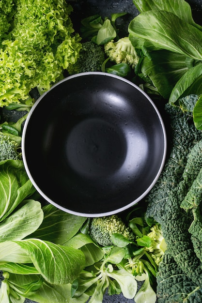 Salades Vertes Et Chou Photo Premium