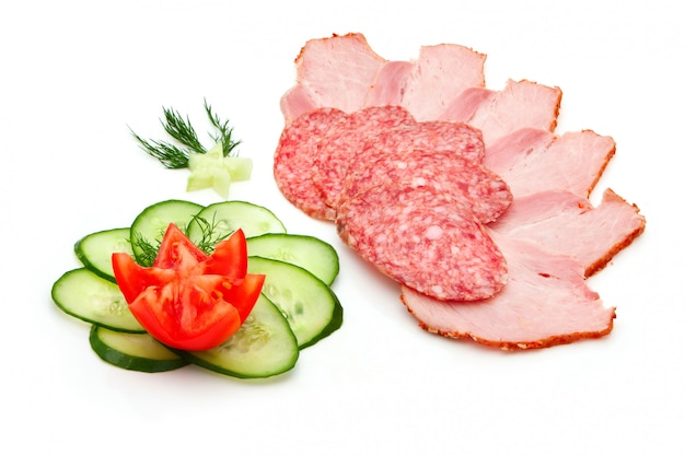 Salami en tranches et jambon Photo Premium