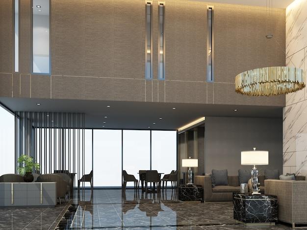 Salle D'attente De Réception Mainhall Dans Un Condominium Ou Un Hôtel Avec Des Meubles De Luxe Et Une Texture De Marbre En Rendu 3d De Couleur De Ton Gris Photo Premium