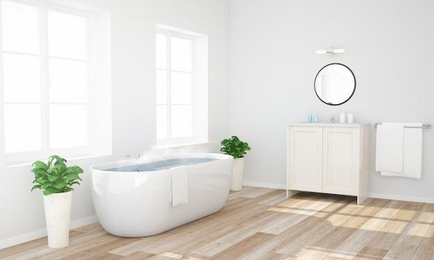 Salle de bain avec eau chaude prête à prendre un bain Photo Premium
