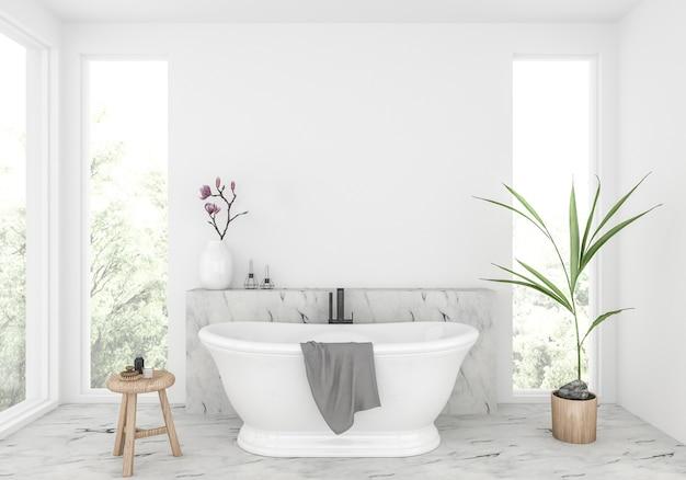 Salle de bain élégante avec mur blanc, présentoir de ...