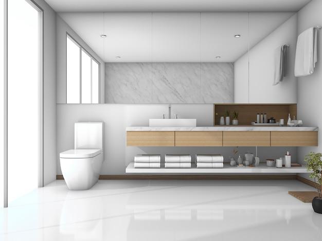Salle de bain moderne carrelage blanc rendu 3d   Télécharger ...