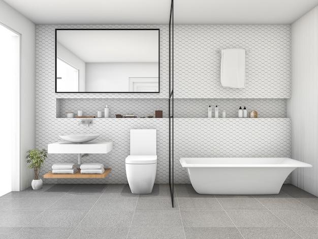 Salle de bain moderne carrelage hexagone blanc rendu 3d ...