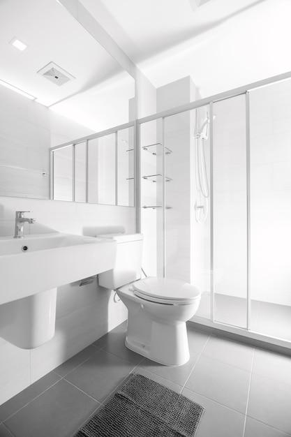 Salle de bain et sanitaires. le bâtiment rénové ressemble à un miroir réfléchissant spacieux. Photo Premium