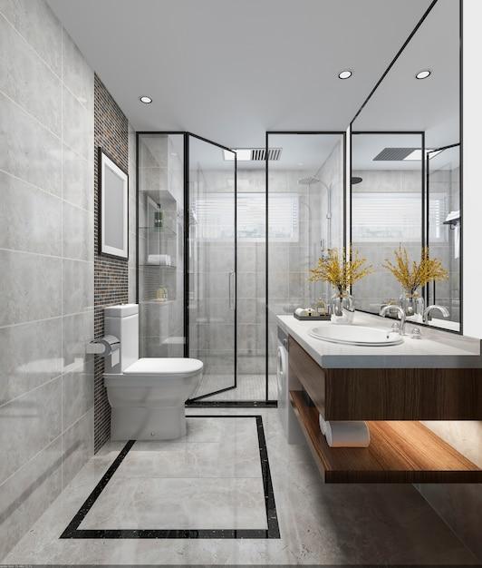 Salle de bain et toilette design moderne luxe rendu 3d ...