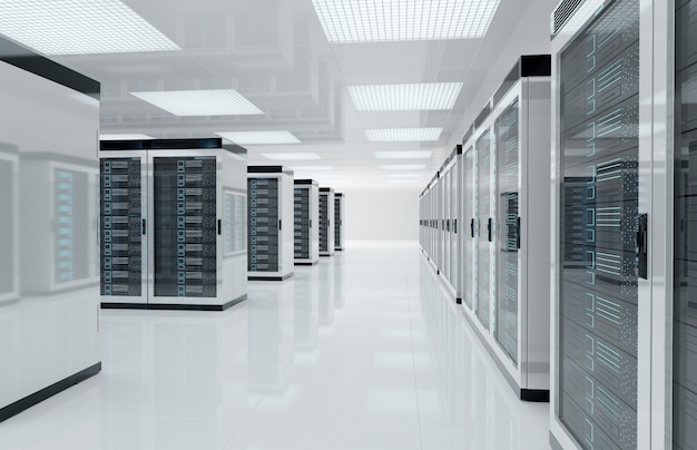 Salle blanche du centre des serveurs avec ordinateurs et systèmes de stockage rendu 3d Photo Premium