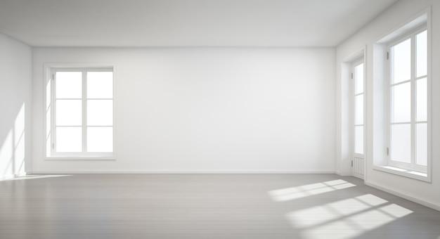Salle blanche vintage avec porte et fenêtre dans la nouvelle maison - rendu 3d Photo Premium