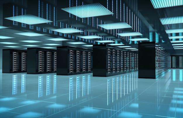 Salle centrale des serveurs sombres avec ordinateurs et systèmes de stockage rendu 3d Photo Premium